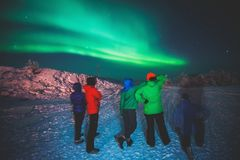 Beautiful picture of massive multicolored green vibrant Aurora Borealis, also known as Northern Lights, Sweden, Lapland Royalty Free Stock Images