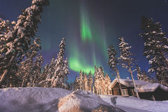Beautiful picture of massive multicolored green vibrant Aurora Borealis, Northern Lights Stock Images