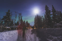 Beautiful picture of massive multicolored green vibrant Aurora Borealis, Northern Lights Stock Image