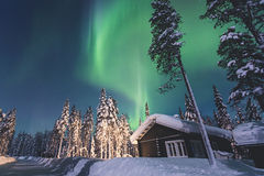 Beautiful picture of massive multicolored green vibrant Aurora Borealis, Northern Lights Stock Photography