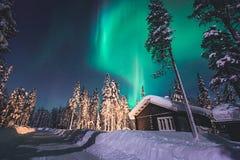 Beautiful picture of massive multicolored green vibrant Aurora Borealis, Northern Lights Stock Photos