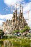 Beautiful picture of Sagrada Familia. Lake near Sagrada Familia, architect Antoni Gaudi. Spain , Barcelona Royalty Free Stock Image