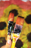 Beautiful picture of sunflowers and paintbrushes stock photo