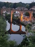 Viaduct in Knaresborough. Beautiful picture taken of the viaduct in Knaresborough with an amazing reflection on  the water Stock Image