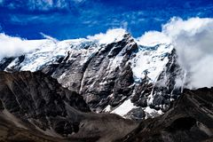 Close-up View Of A Snow Covered Himalayan Mountain Peak royalty free stock photos