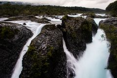 Water falls in the Petrohue river royalty free stock photos