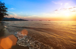 Beautiful picture of the world - the sunset over the sea. Sunset of sea beach. Travel Stock Photos