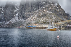 Beautiful Picturesque Harbour Seascape Against Snowy Mountains Stock Photography