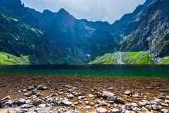 Beautiful picturesque lake in the Tatra Mountains Cherny Staw, P. Oland royalty free stock photo