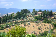 Beautiful picturesque landscape of countyside in Tuscany, Italy Stock Photos