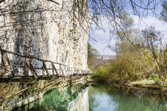 Beautiful picturesque  landscape of river and bridge in the rocks  in the mountain Stock Images