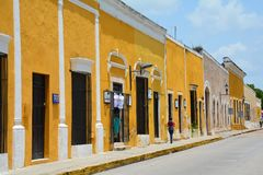 Yellow Village of Izamal Yucatan in Mexico. The beautiful and picturesque little town of Izamal or also called the yellow village in the province of Yucatan in royalty free stock image