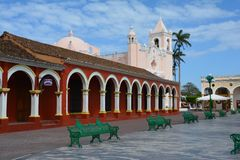 UNESCO Village of Tlacotalpan Veracruz in Mexico. The beautiful and picturesque little town of Tlacotalpan on the shores of a small river in the province of royalty free stock images