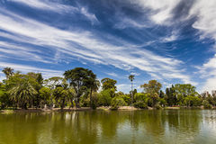 Beautiful picturesque park on the background of blue sky. royalty free stock images
