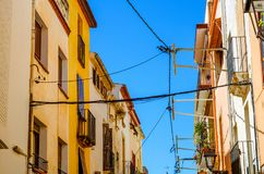Beautiful, picturesque street, narrow road, colorful facades of Royalty Free Stock Photography