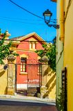 Beautiful, picturesque street, narrow road, colorful facades of Royalty Free Stock Photo