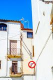 Beautiful, picturesque street, narrow road, colorful facades of Stock Images