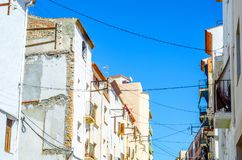 Beautiful, picturesque street, narrow road, colorful facades of Stock Photo