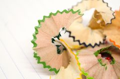 Beautiful piece of wood junk. Beautiful piece of wood junk from sharpener crayon. The wood have pattern Stock Photos