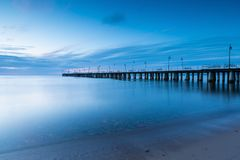 Beautiful pier in Gdynia, poland. Long exposure photo. Royalty Free Stock Image