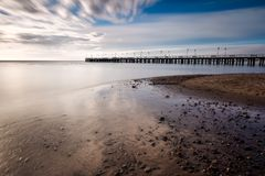 Beautiful pier in Gdynia, poland. Long exposure photo. Royalty Free Stock Photography