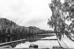 Beautiful pier. And lovely lakes in sweden Stock Photos