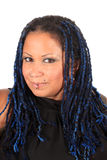 Beautiful pierced woman. Pretty  pierced african american woman with blue braids on a white background Royalty Free Stock Photography