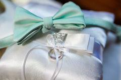 Beautiful pillow for wedding rings close up Royalty Free Stock Photo