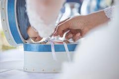 A beautiful pillow wedding rings stock image