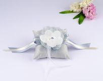 Beautiful pillow for wedding rings Royalty Free Stock Images