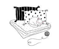 Free Beautiful Pillows And Cat On A White Background. Stock Photography - 92256612