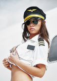 Beautiful pilot girl stock image