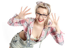 Beautiful Pin Up blond girl Stock Photo