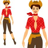 Beautiful pin up cowgirl 1950s style Stock Image