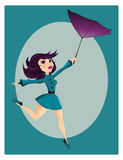 Beautiful pin up girl. With flipped umbrella stock illustration