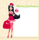 Beautiful pin-up girl in Christmas  costume Royalty Free Stock Images
