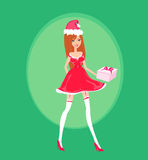 Beautiful pin-up girl in Christmas inspired costume Stock Photography