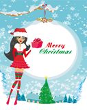 Beautiful pin-up girl in Christmas inspired costume. Vector Illustration vector illustration