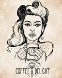Beautiful pin-up girl with a coffee cup. Royalty Free Stock Photo
