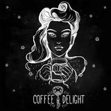 Beautiful pin-up girl with a coffee cup. Royalty Free Stock Photos