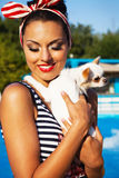 Beautiful pin up girl near the swimming pool Royalty Free Stock Photo
