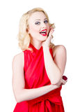 Beautiful pin up girl smiling and whispering Stock Photo