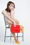Beautiful Pin-up Girl With Red Bag Royalty Free Stock Images