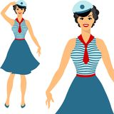 Beautiful pin up sailor girl 1950s style Royalty Free Stock Image