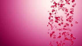 Beautiful pink background with falling hearts on Valentine`s Day stock video footage