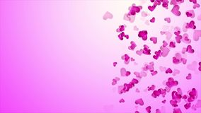 Beautiful pink background with falling hearts on Valentine`s Day stock video