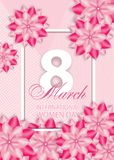 Beautiful pink background with flowers for International women`s day on March 8. Vector. Illustration Stock Illustration