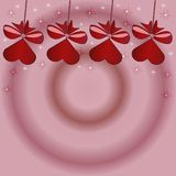 Beautiful pink background with red sweets with bow on a stick. For Valentine`s day, beautiful card with sweets shining stars np day of lovers Royalty Free Stock Image
