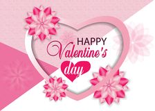 Beautiful pink background Valentines day with heart and flowers. Vector illustration royalty free illustration