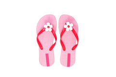 Beautiful pink beach shoes isolated on white background. Royalty Free Stock Photography